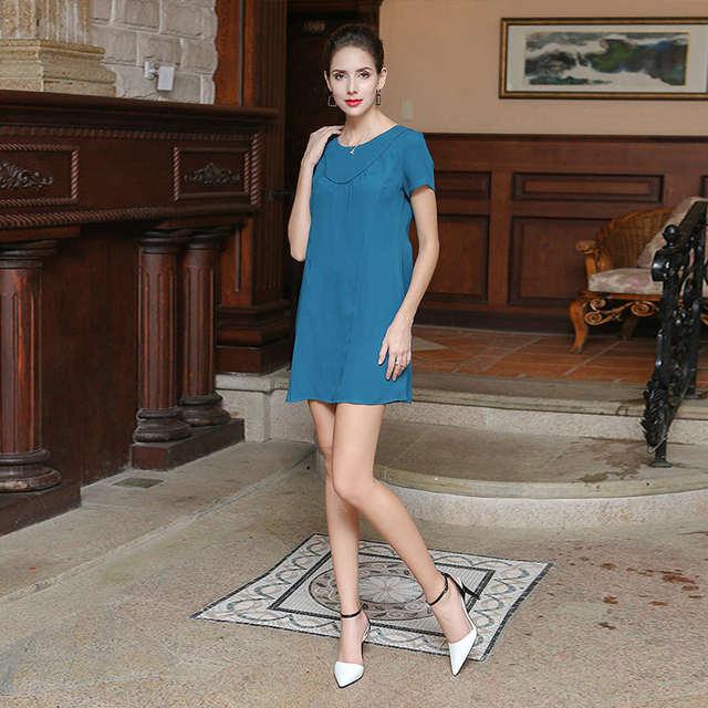 8f1e6536c93 Online Shop VOA Summer Cyan Casual Heavy Silk Office Mini Dress Short  Sleeve Plus Size Solid Fashion Simple Women A Line Dresseses A3358