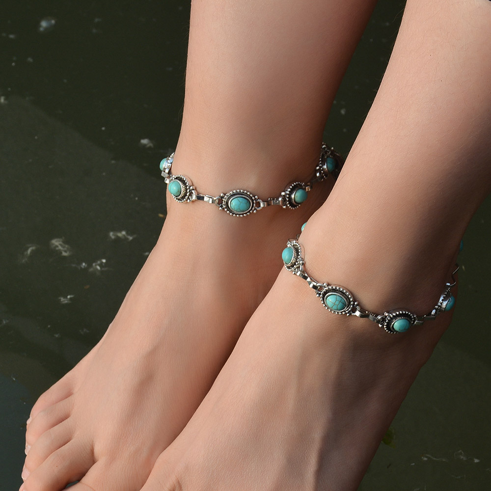 MAA-OE Boho Vintage Ethnic Anklet Metal Alloy Green Stone Ankle Bracelets For Women Handmade Chain Party Jewelry Gift A-34