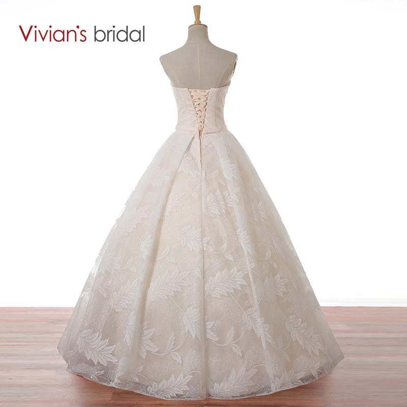 Vivian\'s Bridal Floor Length Lace Sweetheart Wedding Dress Ball Gown ...