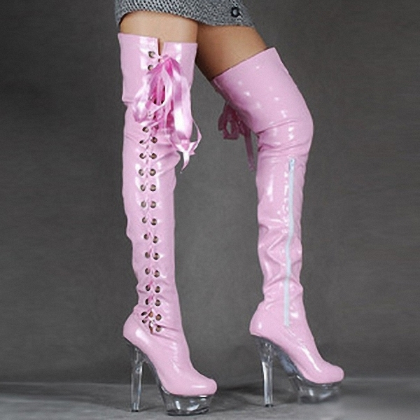 Plus 35-44 45 46 Pink 15cm ultra high heels over-the-Knee Motorcyle boots  woman Cos pumps ladies Pole Dance side lace-ups shoes d28cd0b58071