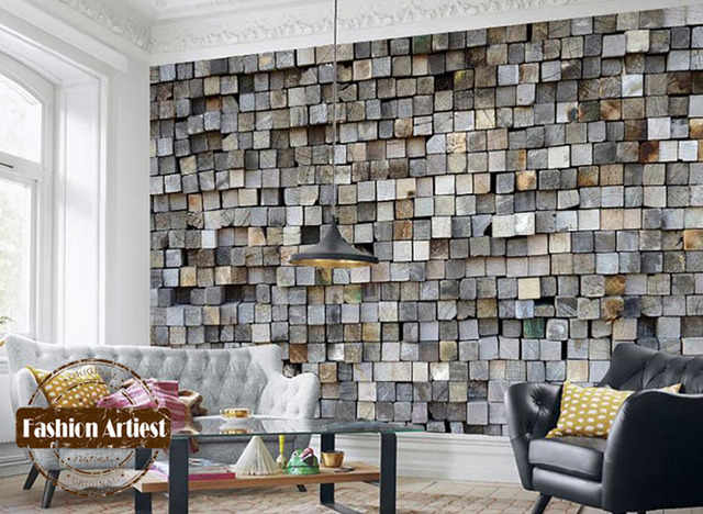 Custom Modern 3d Wallpaper Mural Vintage Embossed Wood
