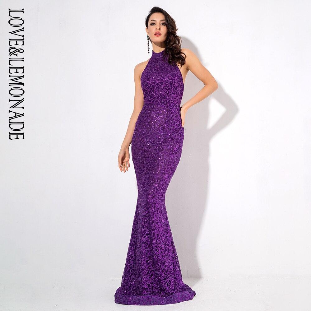 Love&Lemonade Purple Glitter Long Dress LM1205