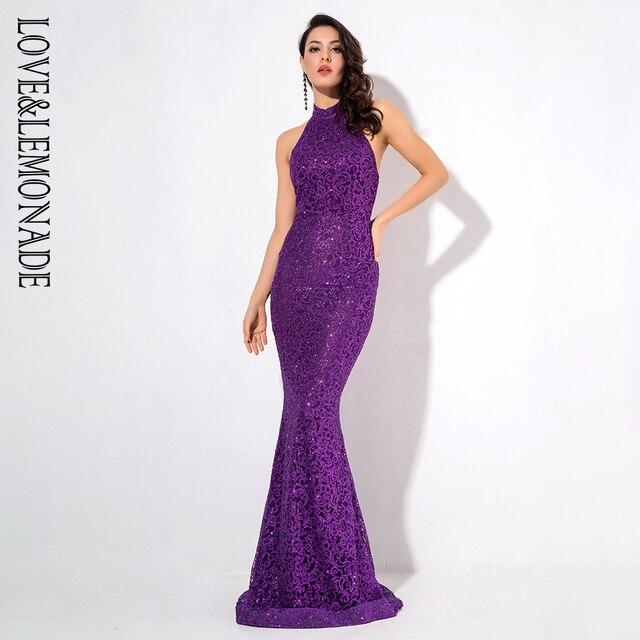 c9db885b1d US $45.97 24% OFF|Love&Lemonade Purple Open Back Back Glitter Glued  Material Long Dress LM1205-in Dresses from Women's Clothing on  Aliexpress.com | ...