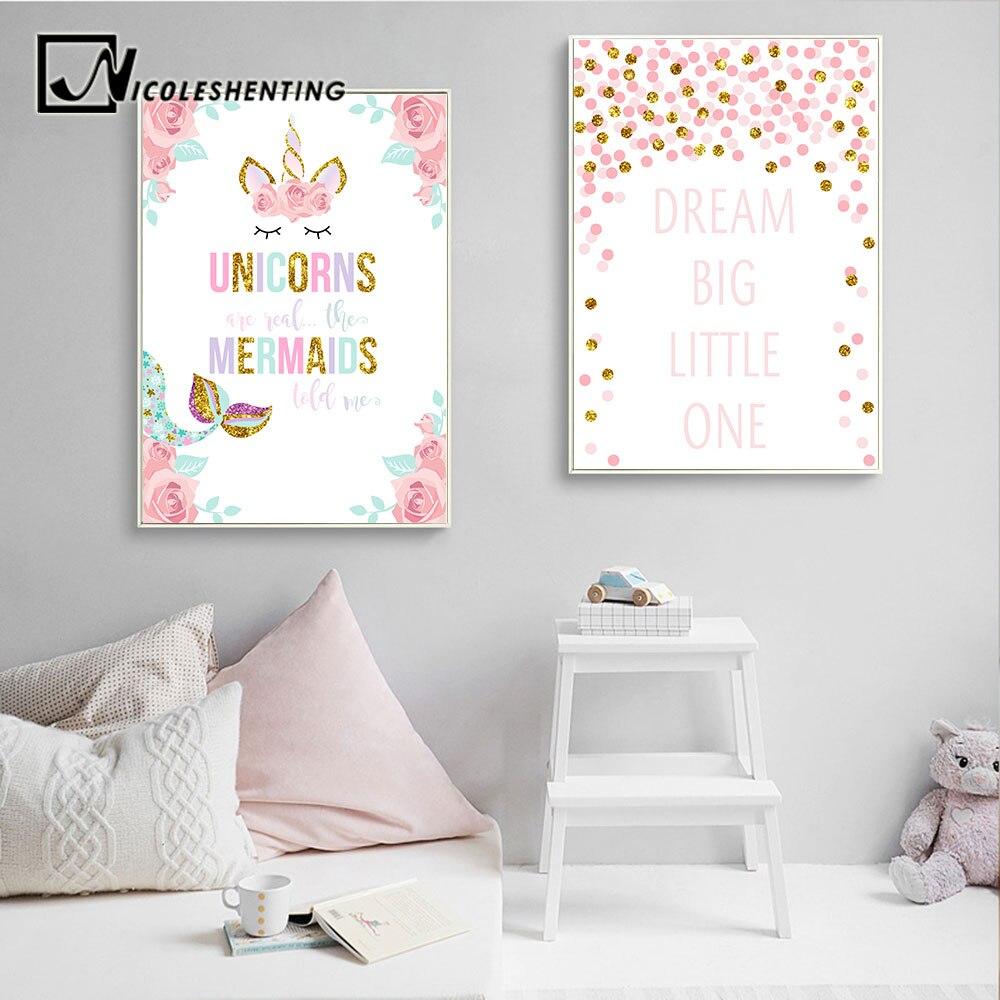 Unicorn Wall Art Canvas Poster Nursery Quote Prints Baby Kids Living Room Decor