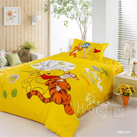 Disney accredit Cartoon Winnie the Pooh Duvet Cover Set Quilt Cover bedding sets 100% Cotton Twin size Gifts for children