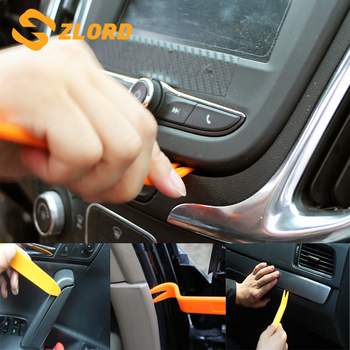 Zlord 4Pcs Orange ABS Automobile Audio Door Clip Panel Trim Dash Auto Radio Removal Pry Tools Set Car Panel Removal Tool image