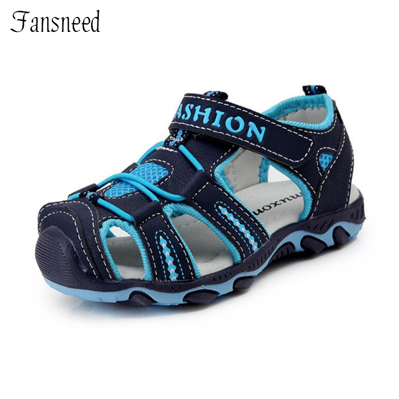 Non-slip soft 2018 summer sandals new large children's shoes Hook&Loop boys and girls beach sandals
