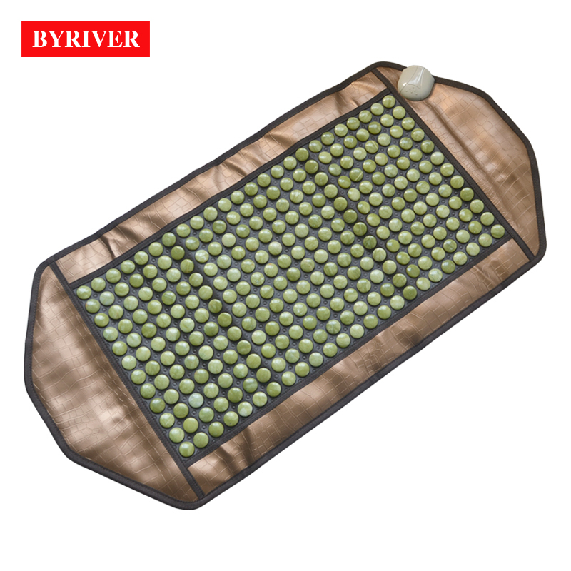 BYRIVER 98 50CM Natural Real Jade Stone Tourmanium Heating Therapy Mat FIR Health Anions Ceratonic Mattress
