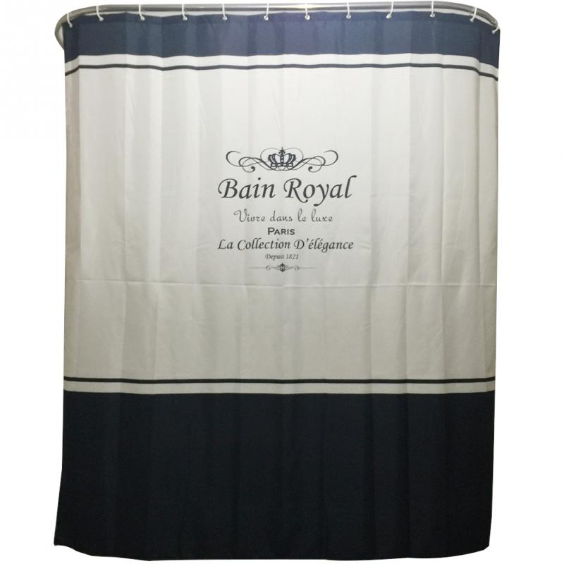 English Crown Family Bathroom Shower Curtain Simple Ring Pull Easy To Install