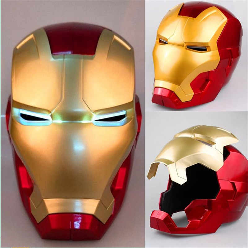 In Stock New 1:1 Iron Man Cosplay Mask With LED Light PVC Figure Toy Iron Man Helmet Collection Model Size for Children