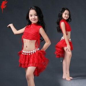 Image 4 - Meninas elegantes roupas de dança do ventre 2pcs(sleeveles top + saia) meninas terno criança Encantadora dança do ventre roupas de dança do ventre 3 cores S/L