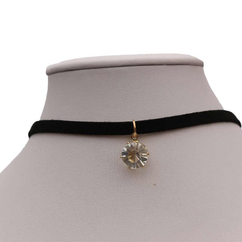 1 sztuk wisiorek cyrkon Choker naszyjniki kobiety czarny aksamitny zamsz skórzany łańcuch dekoracyjne kobiece krótkie szyi łańcuch obojczyka