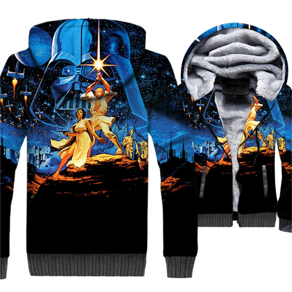 Star Wars Hoodie Men 3D Prequel Trilogy Jacket Movie Sweatshirt 2018 New Brand Winter Thick Fleece Hipster Coat Movie Sportswear