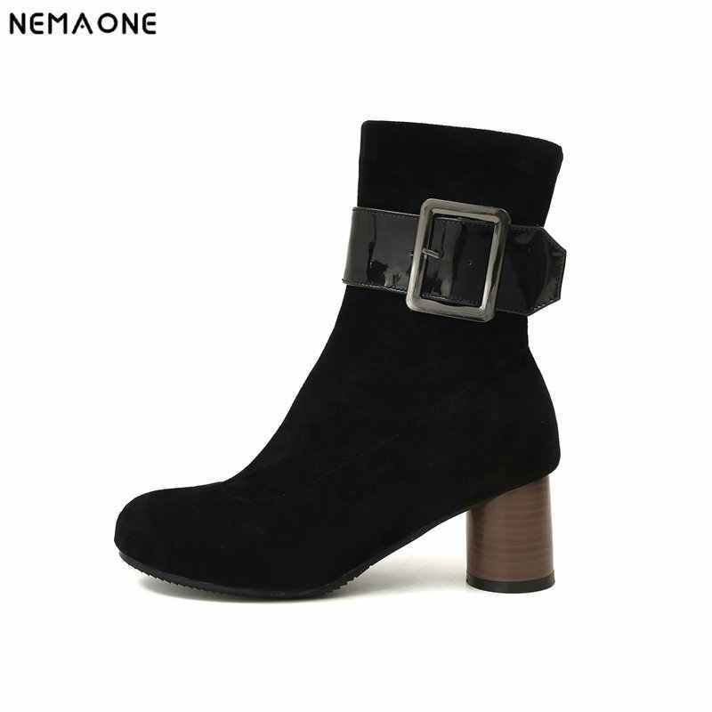 NEMAONE seksi yüksek topuklu kadın ayakkabı bayanlar parti düğün botları kış sıcak kadınlar bileğe kadar bot büyük boy 43 siyah kırmızı haki