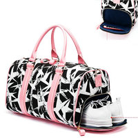 Women Pink Black Sports Gym Bag Sernior Soft Canvas Ladies Yoga Storage Trianing Bag Fitness Bag New Printing Boarding Handbag
