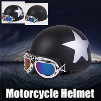 Retro Motorcycle Helmet Star Pattern Open Face Safety Half Helmet With UV Goggle Motorcycle Accessories Parts Protective Gears