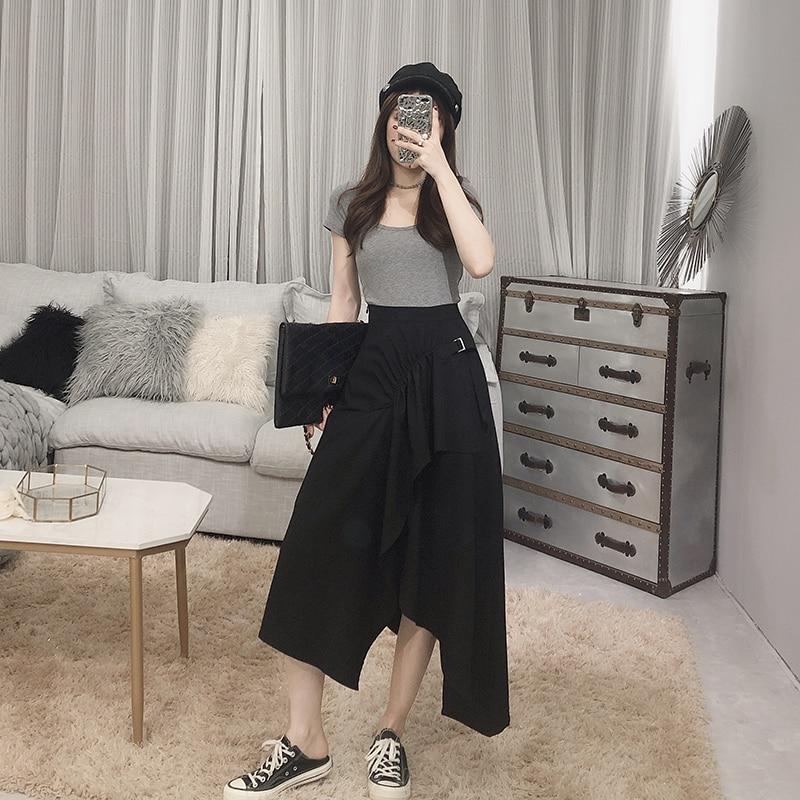 Irrégulière Nouvelle Dans blanc Mince Vêtements Coréens Haute Mode Adulte Longue Jupe Noir De Taille kaki Femmes Étudiants La 2019 P8qxdZP
