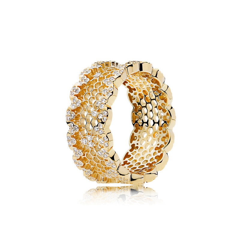 LouLeur 925 Sterling Silver Honeycomb Rings Gold Color Zircon Fashion 925 Silver Rings For Women Wedding Jewelry For Charms
