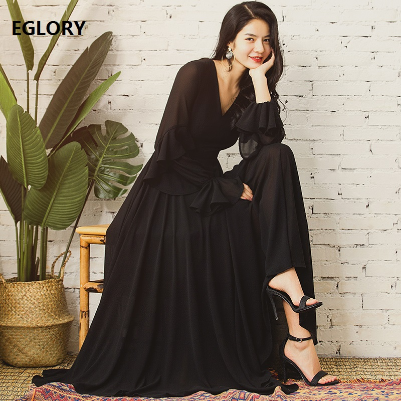 Black Long Dress High Quality Brand Fashion 2018 Summer Women V-Neck Ruffles Long Sleeve Vintage Robe Femme Dress Maxi Party viven leigh brand design bohemian maxi dress women lotus dress 2018 summer gypsy robe boho print long dress v neck dress