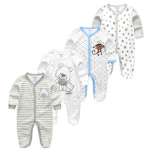 kiddiezoom 4Pcs/set Baby Boy Rompers Clothes Cotton Full