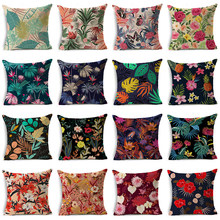WZH Tropical Plants Cushion Cover 45x45cm Linen Decorative Pillow Cover Sofa Bed Pillow Case(China)