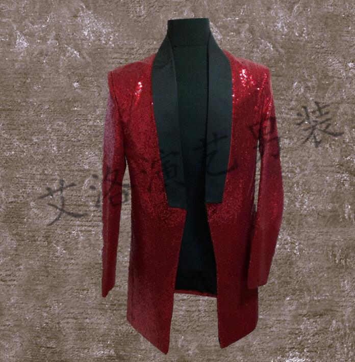 Men Suits Designs Masculino Homme Terno Stage Costumes For Singers Men Sequin Blazer Dance Clothes Jacket Style Dress Punk Red