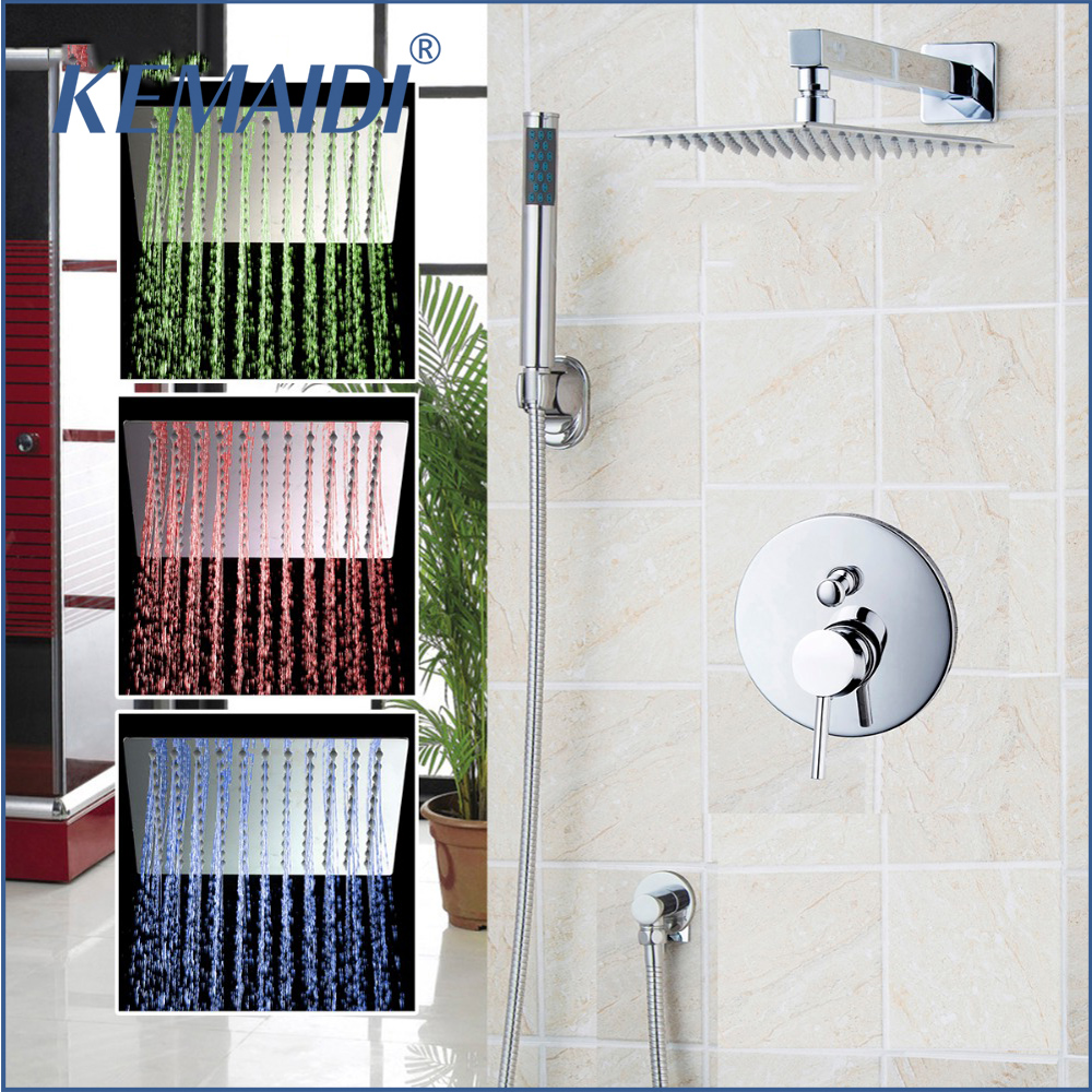 "KEMAIDI  New 8"" 12"" 16"" Bathroom Rain Mixer Shower Combo Set Rainfall Shower Head System Bath & Shower Faucet With Hand Spray"