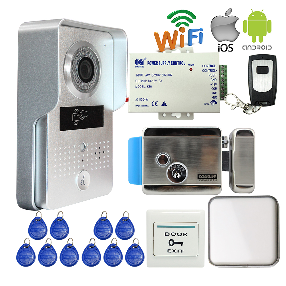 Free Shipping New Wireless WIFI Doorbell Camera RFID Video Intercom for Phone Record Video + Indoor Bell Electric Control Lock бусики колечки солнцезащитные очки арт sun 249