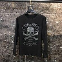 Сверкающих черепа горячей бурения футболка черный, белый цвет, хлопок, длинный рукав, футболка для мужчин Высокое качество Стразы Топ топы, футболки