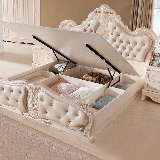 French Luxury Bedroom Furniture Bed With Ivory White No Mattress H908  180x200cm