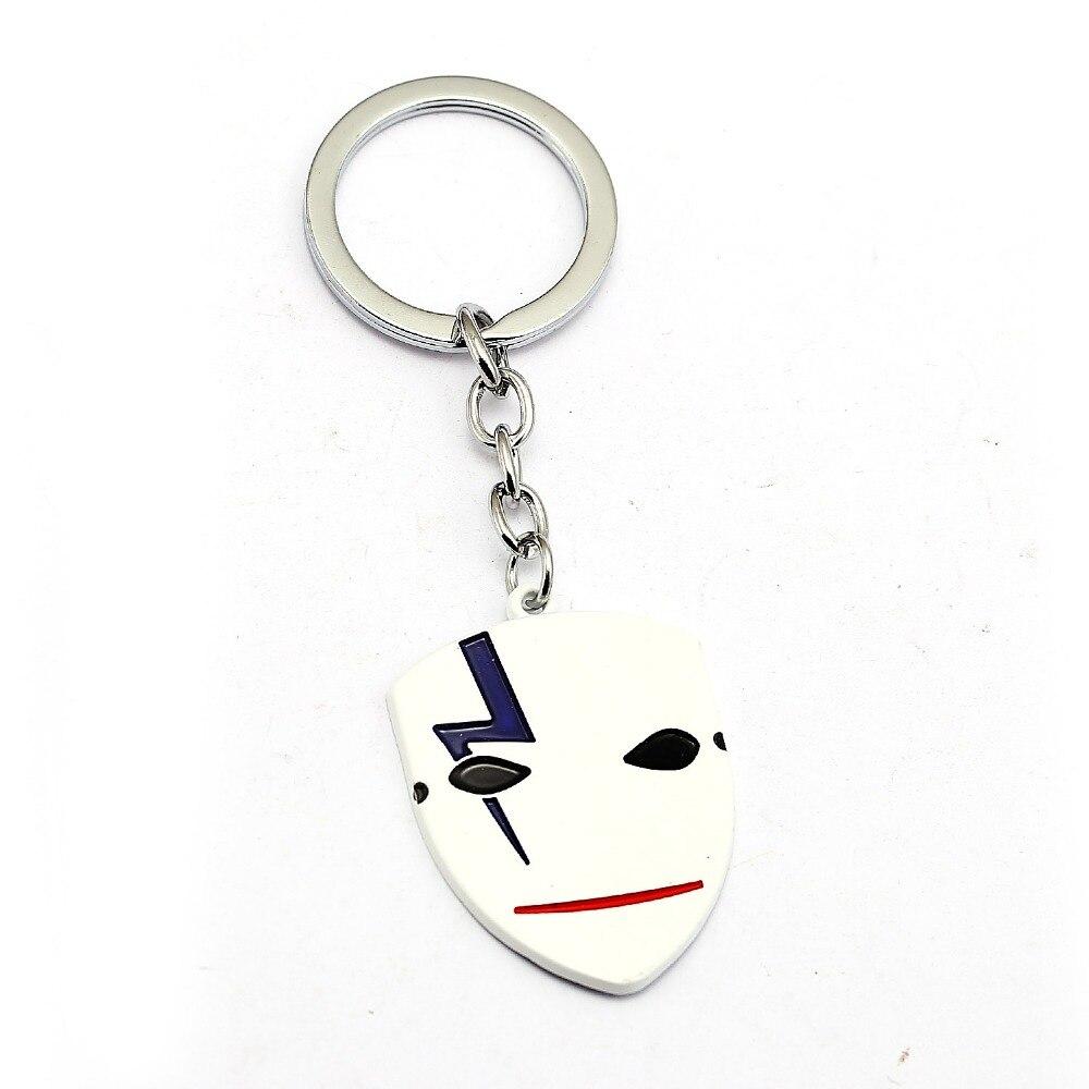 DARKER THAN BLACK Keychain Metal White Mask Key Ring Holder Men Car Women Bag Key Chain Pendant Chaveiro Japanese Anime Jewelry