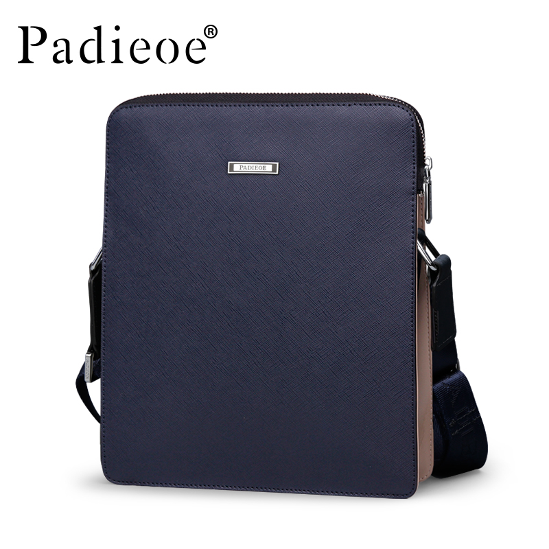 Padieoe Top Quality Split Cow Leather Shoulder Bag Men's Famous Brand Messenger Bags Male Luxury Designer Crossbody Bag Handbags padieoe famous brand shoulder bag genuine cow leather crossbody bag classic designer messenger bag high quality male bags