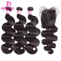 Аманда перуанский Девы волос объемной волны Связки с закрытием 130% плотность человеческих Девы волос 3 Связки с закрытием с ребенком волос