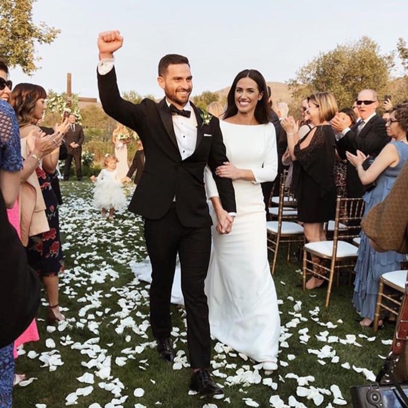 Elegant Wedding Dresses Three Quarter Length Sleeves White Ivory Backless Bridal Dresses Custom Wedding Gown Vestidos De Noiva