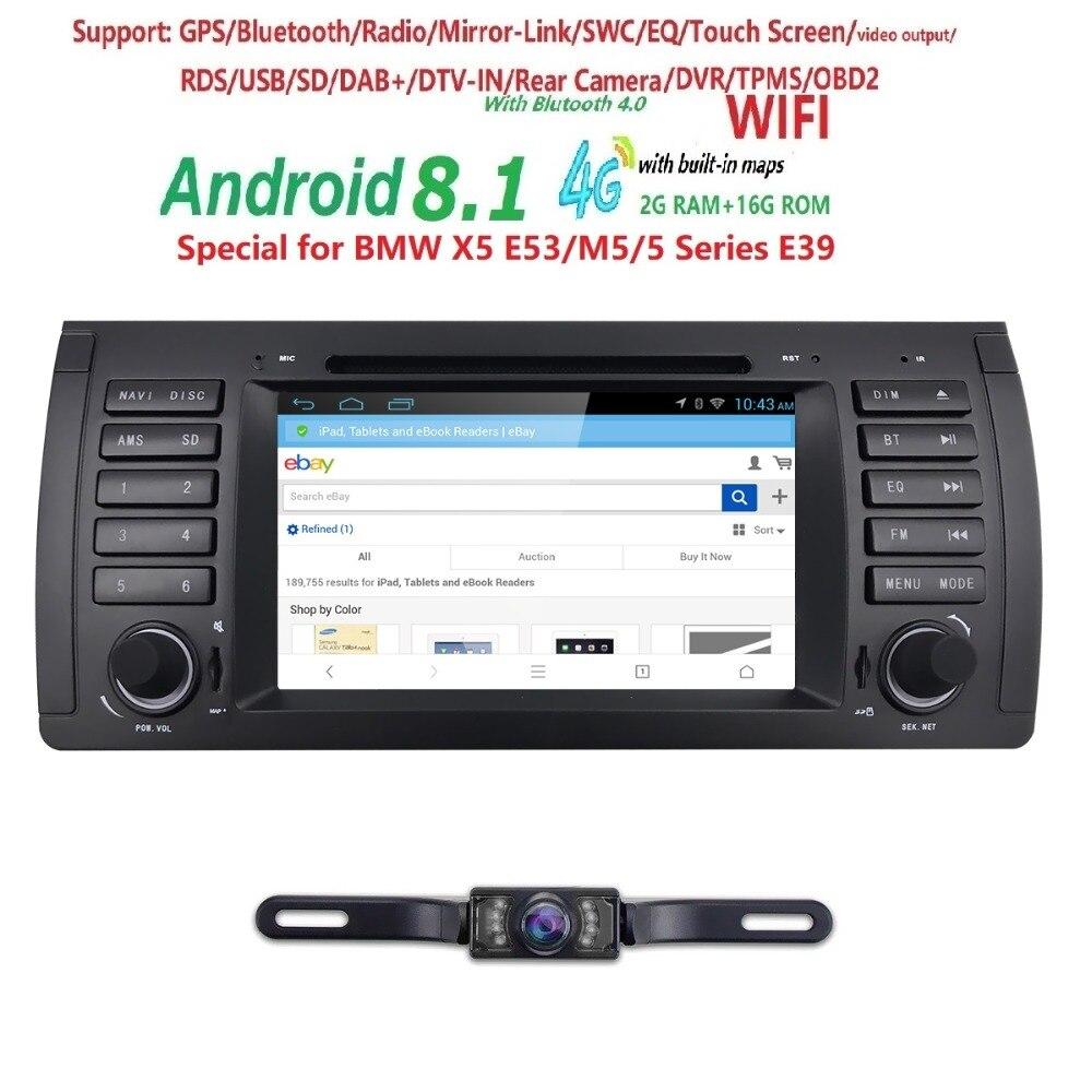 7 Android 8.1 Quad Core GPS Navigation Lecteur DVD de Voiture pour BMW 5 Série E39/X5 E53/ m5/7 Série E38 Radio/USB/4G/WIFI/Caméra Libre