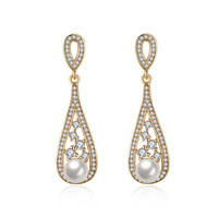 2017 New Spring Luxury Champagne Gold Plated Simulated Pearl Water Drop Earrings For Women Fashion Jewelry