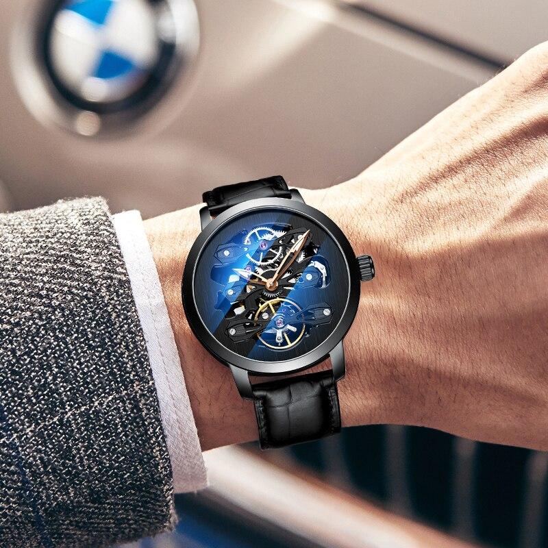AILANG Nieuwe mode luxe merk lederen horloge automatische mechanische mannen horloges skelet horloge Mannelijke erkek kol saati-in Mechanische Horloges van Horloges op  Groep 1