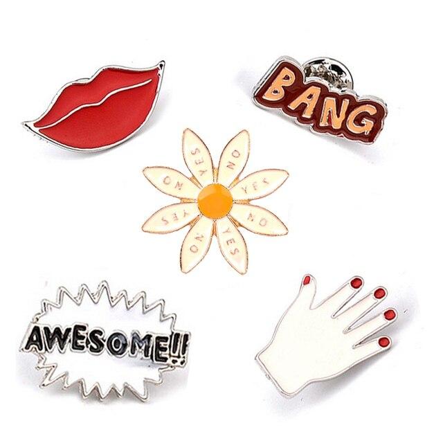 2017 kepribadian kartun BANG AWESOME!! Sexy Red Lip Tangan Lucu Enamel Pin Set Bros Set Lapel Pins Set Untuk Jeans Lencana perhiasan