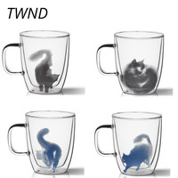 370CC Double wall glass cat coffee mugs tea milk cups office home drinkware friend gifts