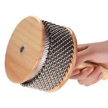 Деревянный Кабаса металлический бисерный цилиндр цепи& Поп ручной шейкер ударный инструмент для классной группы среднего размера