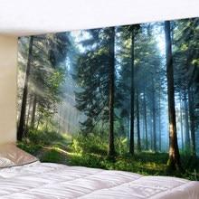 Tapiz de pared grande con estampado con bosque Natural, tapiz colgante de pared Hippie, bohemio, Arte de la pared Decoración de Mandala