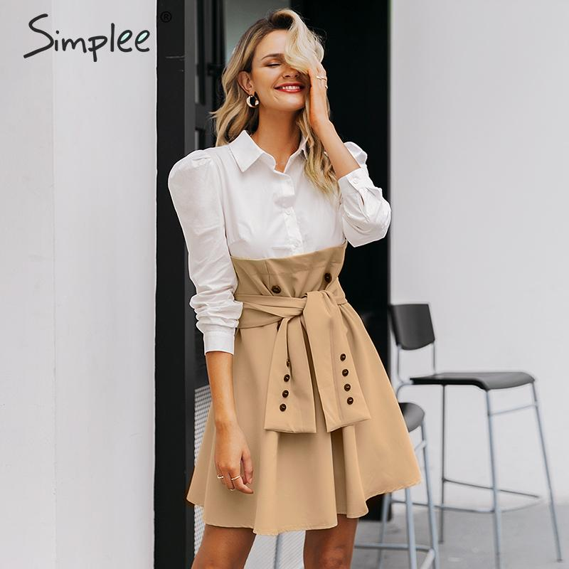 Simplee Patchwork Puff Sleeve Shirt Dress Women Elegant Button Sash Belt Office Ladies Dresses Autumn Ladies Khaki Work Dress
