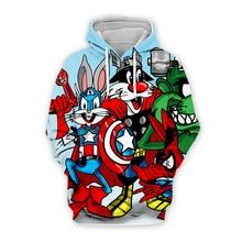 Men Cartoon Bugs Bunny Captain America printing 3d hoodies Sweatshirt marvel superhero print unisex casual Pullover plus sizes men cartoon bugs bunny 3d hoodies galaxy sweatshirt usa flag print unisex casual pullover autumn jacket tracksuit plus size