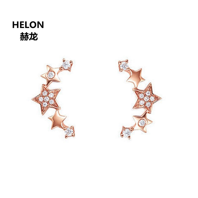 Solid 14k Rose Gold SI/H Natural Diamonds Women Earrings Engagement Wedding Stud Earrings Fine Jewelry Gift
