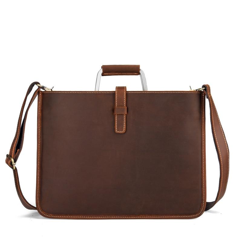 2018 New Crazy horse genuine leather men bags briefcases handbag shoulder crossbody bag men messenger bags