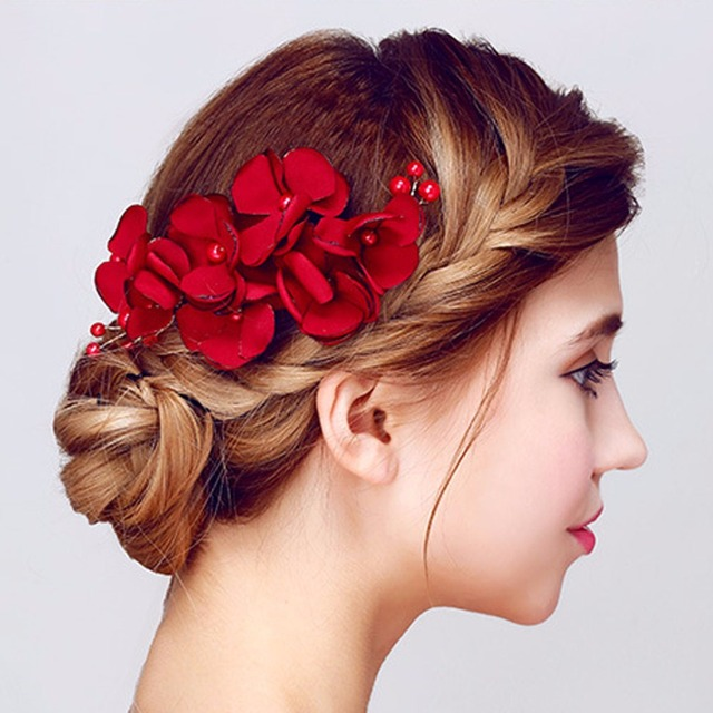 Yazilind New Fashion Hair Accessories For Women Red Flower