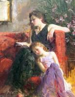 Wysokiej jakości Obraz Olejny na płótnie Daeni Pino sztuka na sprzedaż Skarbem Chwile Matki i dziecka Krajobraz malarstwo Ręcznie malowane