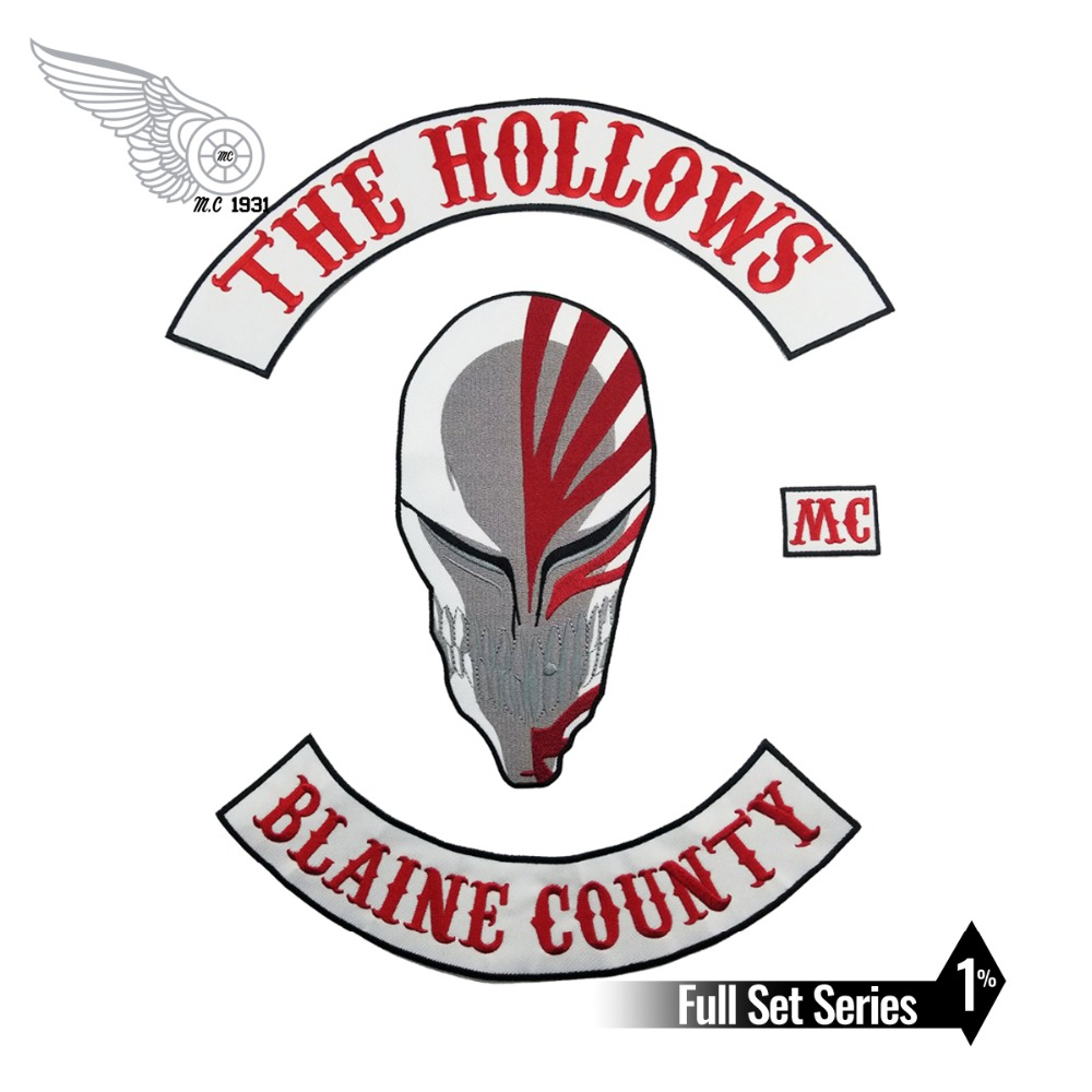 THE HOLLOWS <font><b>MC</b></font> BLAING COUNTY Skull Hot Sell Embroidered <font><b>Patch</b></font> Full Back Large Pattern For Rocker Club Biker <font><b>MC</b></font> <font><b>Patch</b></font> image