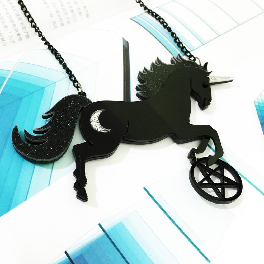 SexeMara Big Acrylic Black Unicorn Pentagram Necklace For Women Men Large Resin Merry go round Horse Necklace Pendant Gift in Pendant Necklaces from Jewelry Accessories