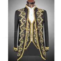 Vogue Palace Style Gold Embroidery Men Tuxedos Classic Groomsmen Men Wedding Suit Jacket Pants Vest White
